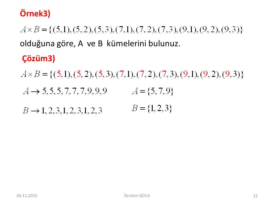 Örnek3) olduğuna göre, A ve B kümelerini bulunuz. Çözüm3) 26.11.201012İbrahim KOCA