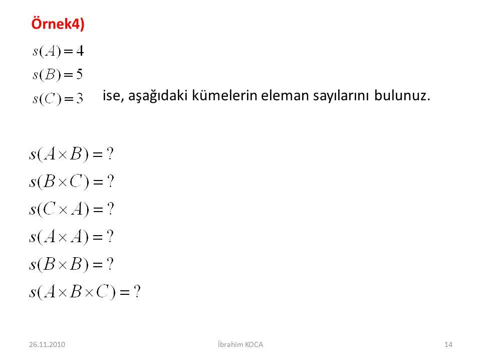 Örnek4) ise, aşağıdaki kümelerin eleman sayılarını bulunuz. 26.11.201014İbrahim KOCA