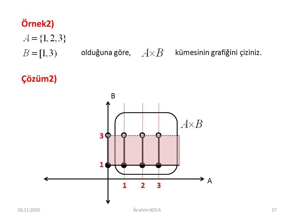 olduğuna göre, kümesinin grafiğini çiziniz. Örnek2) Çözüm2) A B 213 3 1 26.11.201017İbrahim KOCA