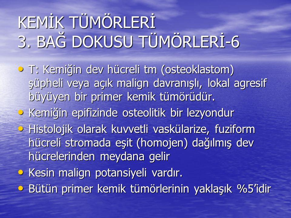 KEMİK TÜMÖRLERİ 3. BAĞ DOKUSU TÜMÖRLERİ-6 T: Kemiğin dev hücreli tm (osteoklastom) şüpheli veya açık malign davranışlı, lokal agresif büyüyen bir prim