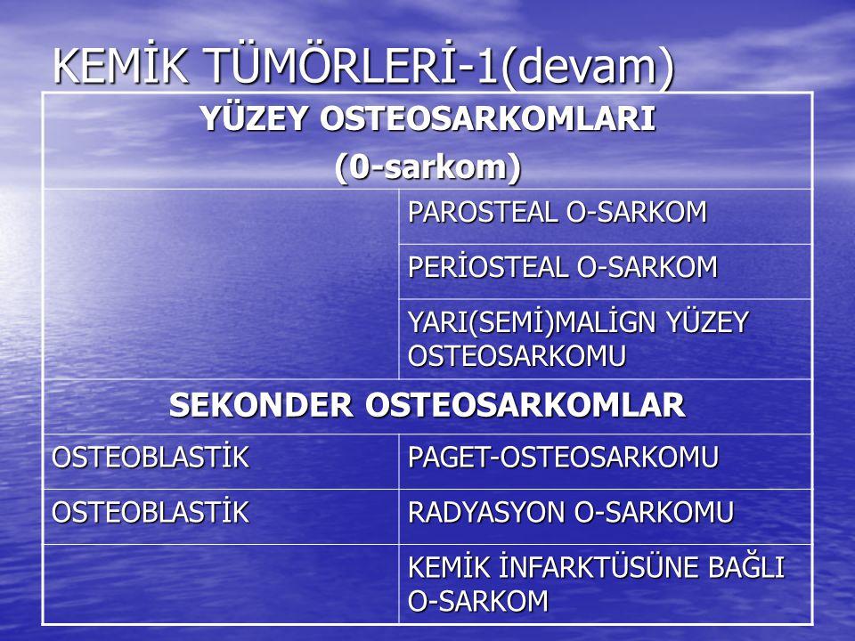 KEMİĞİN KIKIRDAK TÜMÖRLERİ ORİGİN:KIKIRDAKBENİGNMALİGN OsteokondromKondrosarkom: Primer - sekonder Enkondrom/Kondrom Periostal (jukstakortikal/ epiekzostotik) kondrom Periosteal(jukstakortikal/ epiekzostotik) kondrosarkom Kondroblastom Malign kondroblastom Kondromiksoid fibrom İndiferansiye kondrosarkom Mezenkimal kondrosarkom Berrak hücreli kondrosarkom İskelet dışı kondrosarkom