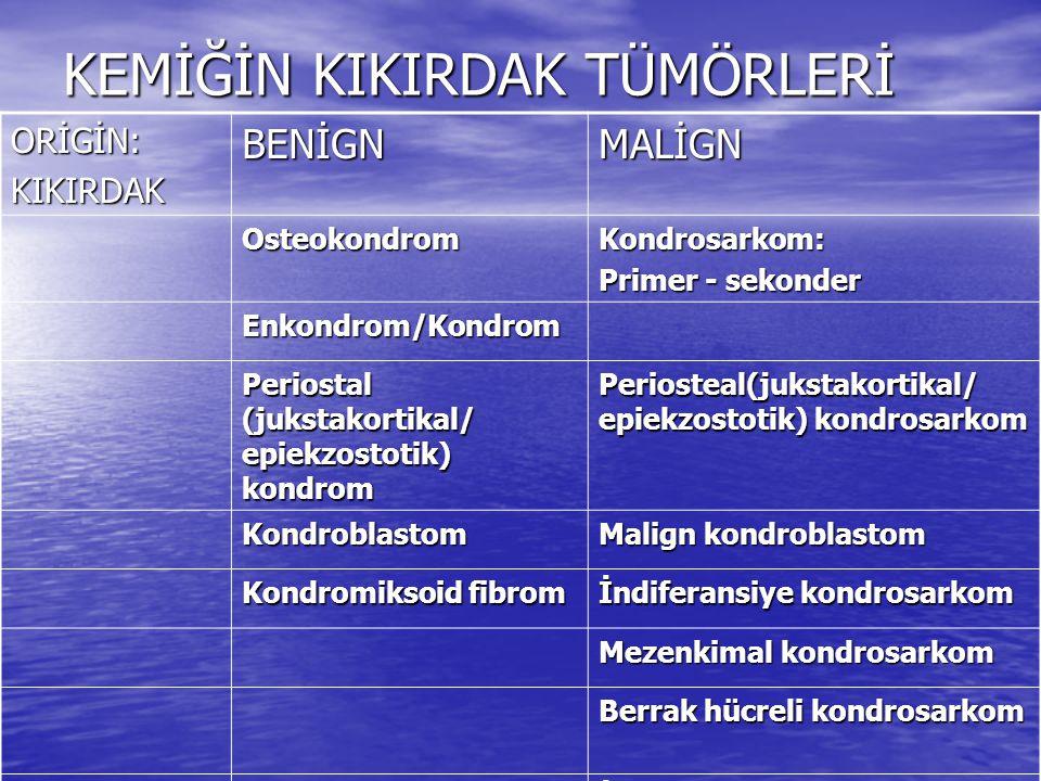 KEMİĞİN BAĞ DOKUSU TÜMÖRLERİ Origin:Bağ dokusu BENİGNMALİGN Non-ossifiye fibrom Osseöz fibrosarkom Ksantofibrom Osseöz fibromiksom Fibröz kortikal defekt Fibroblastik periost reaksiyonu Ossifiye kemik fibromu Kortikalis desmoidi Osteofibröz kemik displazisi Fibröz kemik displazisi