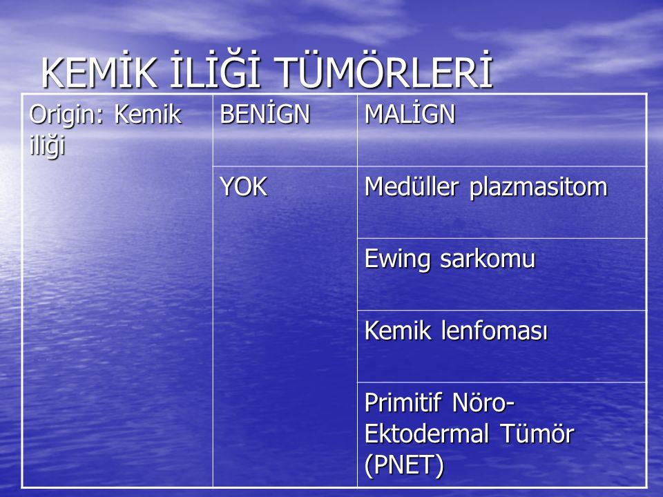 KEMİK İLİĞİ TÜMÖRLERİ Origin: Kemik iliği BENİGNMALİGN YOK Medüller plazmasitom Ewing sarkomu Kemik lenfoması Primitif Nöro- Ektodermal Tümör (PNET)
