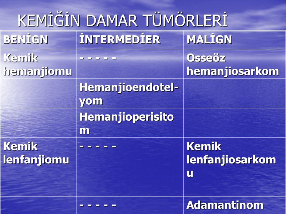 KEMİĞİN SİNİR, KAS ve NOTOKORD TÜMÖRLERİ Orijin:Sinir dokusu BENİGNMALİGN Nörinom (Schwannom) Malign Periferik Sinir Kılıfı Tümörü (MPSKT) Nörofibrom GanglionöromNöroblastom Orijin: Düz Kas Kemik leiomyomu Kemik leiomyosarkomu Orijin:KORDA DOKUSU (NOTOKORD) Kordoma Kondroid kordoma