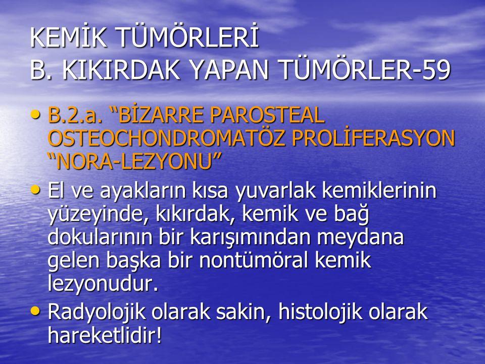 """KEMİK TÜMÖRLERİ B. KIKIRDAK YAPAN TÜMÖRLER-59 B.2.a. """"BİZARRE PAROSTEAL OSTEOCHONDROMATÖZ PROLİFERASYON """"NORA-LEZYONU"""" B.2.a. """"BİZARRE PAROSTEAL OSTEO"""