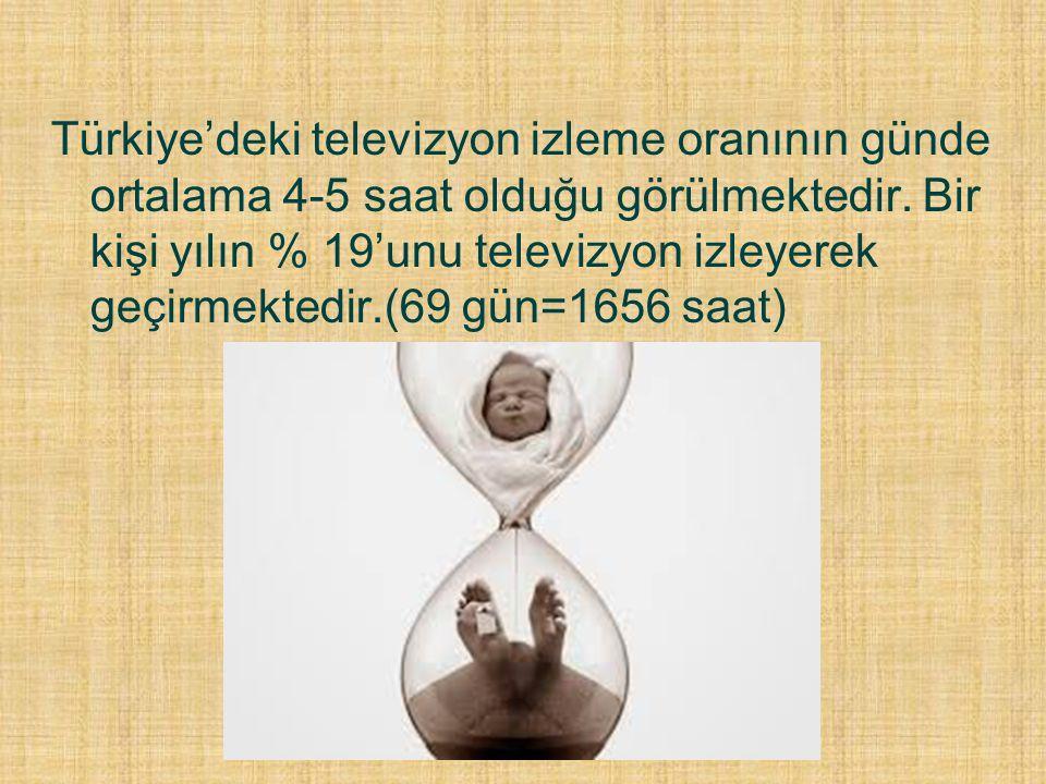 Türkiye'deki televizyon izleme oranının günde ortalama 4-5 saat olduğu görülmektedir. Bir kişi yılın % 19'unu televizyon izleyerek geçirmektedir.(69 g