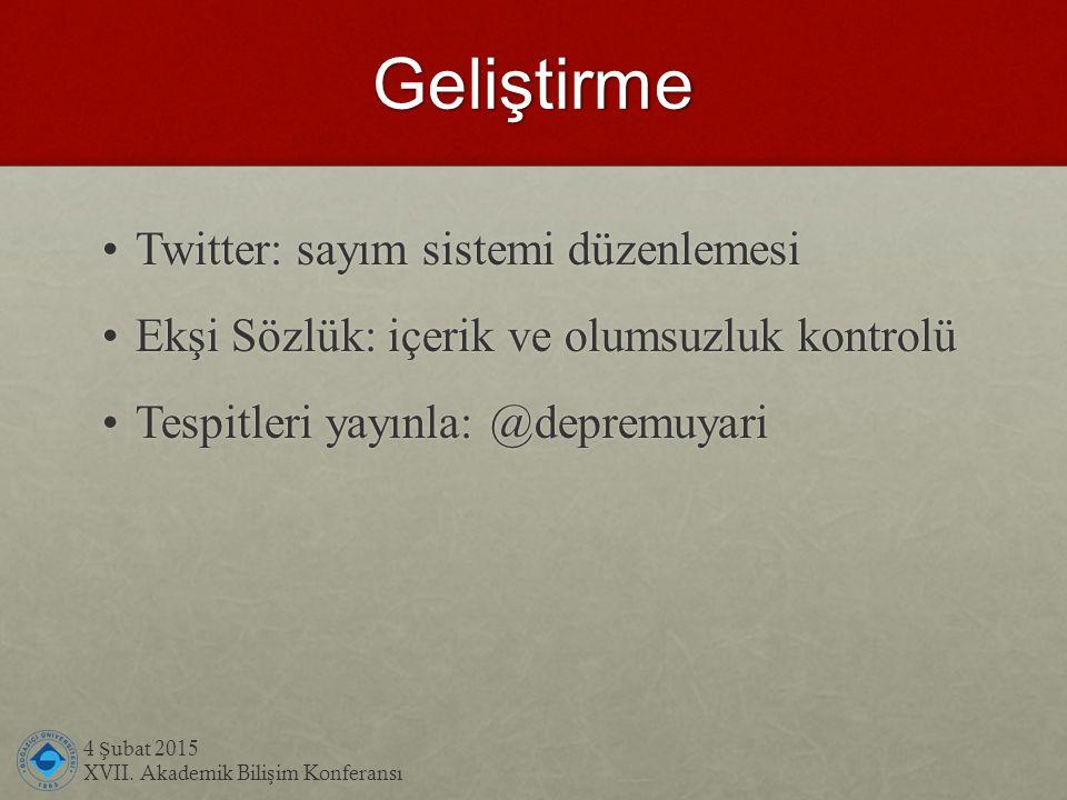 Geliştirme 4 Ş ubat 2015 XVII. Akademik Bili ş im Konferansı Twitter: sayım sistemi düzenlemesi Twitter: sayım sistemi düzenlemesi Ekşi Sözlük: içerik