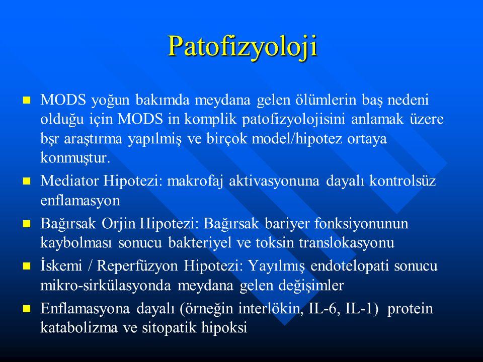 Patofizyoloji MODS yoğun bakımda meydana gelen ölümlerin baş nedeni olduğu için MODS in komplik patofizyolojisini anlamak üzere bşr araştırma yapılmiş ve birçok model/hipotez ortaya konmuştur.