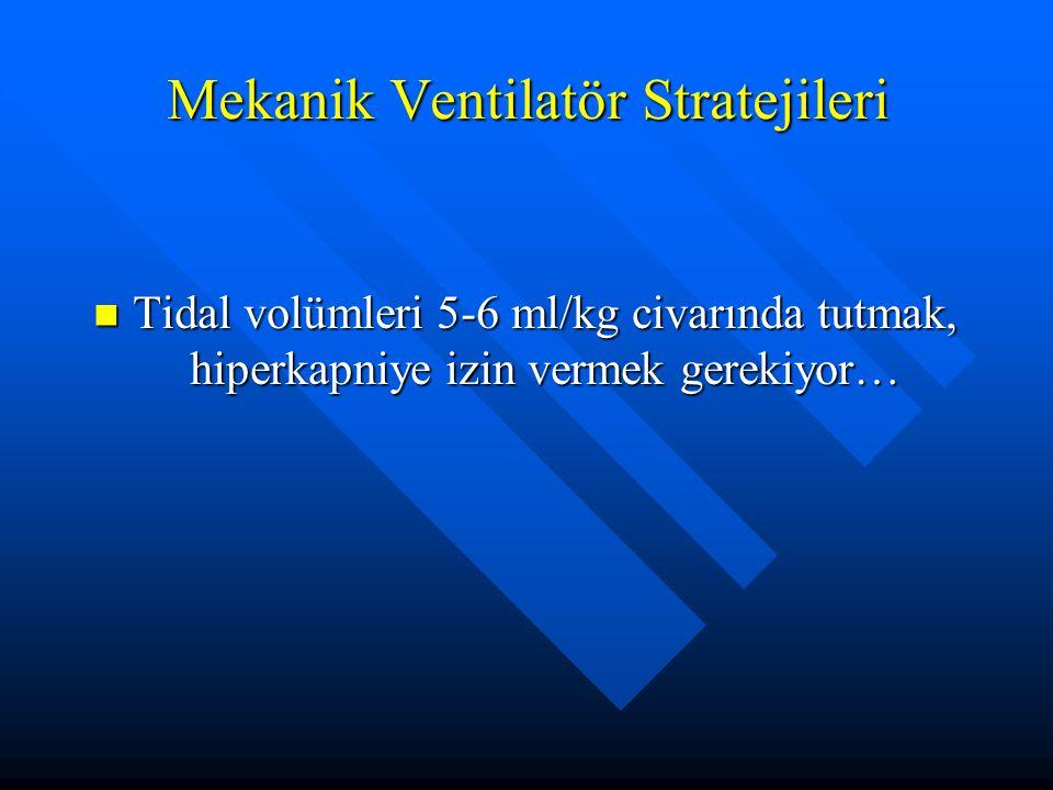 Mekanik Ventilatör Stratejileri Tidal volümleri 5-6 ml/kg civarında tutmak, hiperkapniye izin vermek gerekiyor… Tidal volümleri 5-6 ml/kg civarında tutmak, hiperkapniye izin vermek gerekiyor…