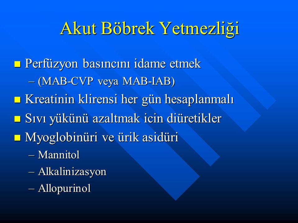 Perfüzyon basıncını idame etmek Perfüzyon basıncını idame etmek –(MAB-CVP veya MAB-IAB) Kreatinin klirensi her gün hesaplanmalı Kreatinin klirensi her gün hesaplanmalı Sıvı yükünü azaltmak icin diüretikler Sıvı yükünü azaltmak icin diüretikler Myoglobinüri ve ürik asidüri Myoglobinüri ve ürik asidüri –Mannitol –Alkalinizasyon –Allopurinol Akut Böbrek Yetmezliği