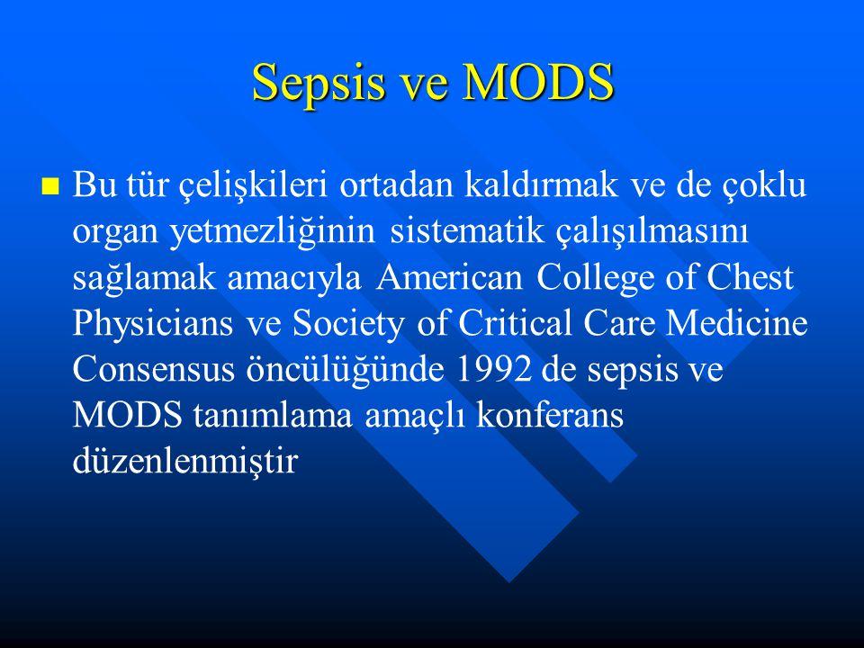 Sepsis ve MODS Bu tür çelişkileri ortadan kaldırmak ve de çoklu organ yetmezliğinin sistematik çalışılmasını sağlamak amacıyla American College of Chest Physicians ve Society of Critical Care Medicine Consensus öncülüğünde 1992 de sepsis ve MODS tanımlama amaçlı konferans düzenlenmiştir