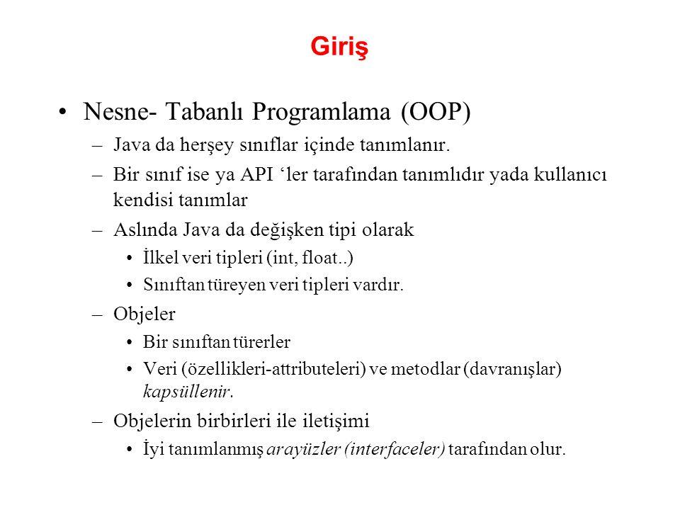 8.1 Giriş(devam) Prosedürel programlama dili –C dili örnektir.