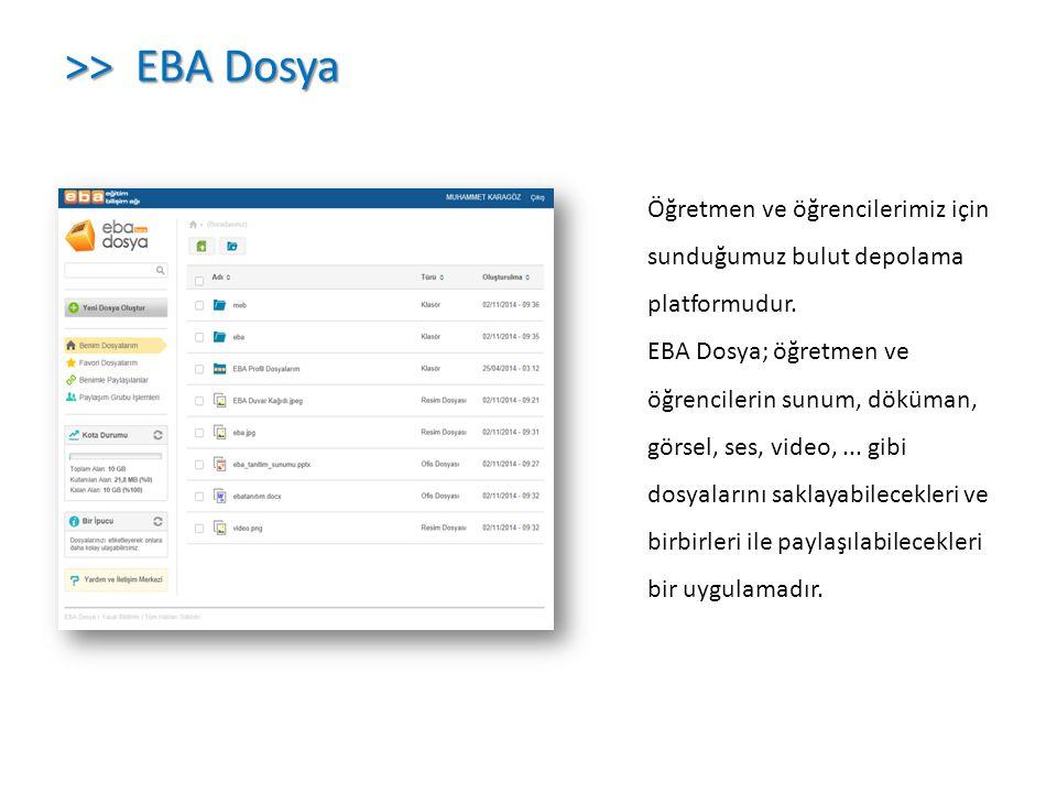 Öğretmen ve öğrencilerimiz için sunduğumuz bulut depolama platformudur. EBA Dosya; öğretmen ve öğrencilerin sunum, döküman, görsel, ses, video,... gib