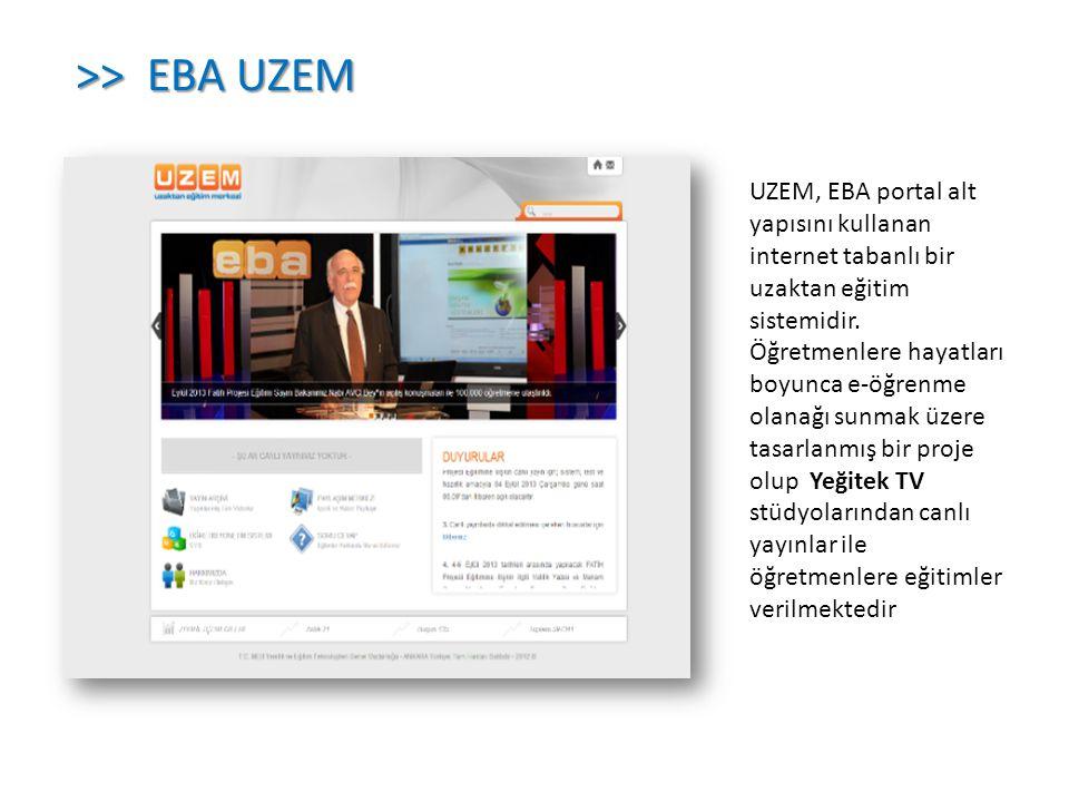 UZEM, EBA portal alt yapısını kullanan internet tabanlı bir uzaktan eğitim sistemidir. Öğretmenlere hayatları boyunca e-öğrenme olanağı sunmak üzere t