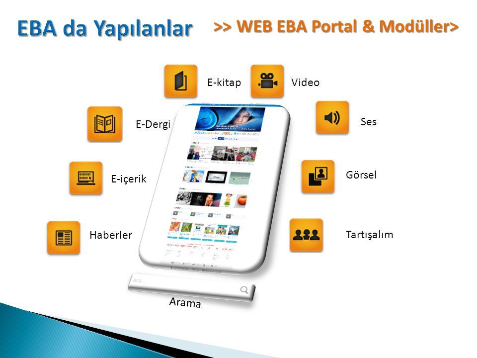 >> WEB EBA Portal & Modüller> Haberler E-içerik E-kitapVideo Ses Görsel Tartışalım E-Dergi Arama