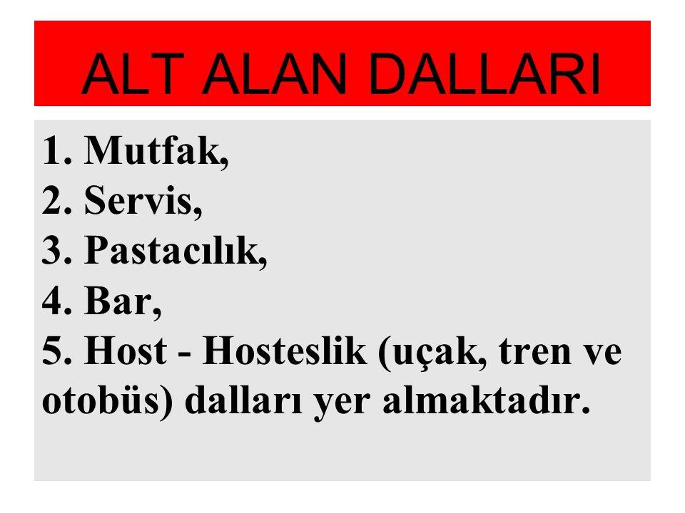 ALT ALAN DALLARI 1. Mutfak, 2. Servis, 3. Pastacılık, 4. Bar, 5. Host - Hosteslik (uçak, tren ve otobüs) dalları yer almaktadır.