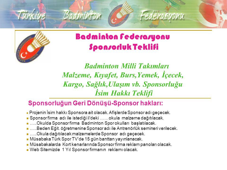 Badminton Federasyonu Sponsorluk Teklifi Badminton Milli Takımları Malzeme, Kıyafet, Burs,Yemek, İçecek, Kargo, Sağlık,Ulaşım vb.
