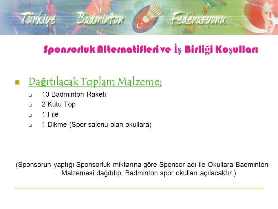 Sponsorluk Alternatifleri ve İş Birli ğ i Ko ş ulları Da ğ ıtılacak Toplam Malzeme;  10 Badminton Raketi  2 Kutu Top  1 File  1 Dikme (Spor salonu olan okullara) (Sponsorun yaptığı Sponsorluk miktarına göre Sponsor adı ile Okullara Badminton Malzemesi dağıtılıp, Badminton spor okulları açılacaktır.)