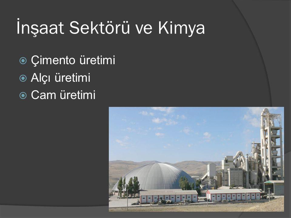 İnşaat Sektörü ve Kimya  Çimento üretimi  Alçı üretimi  Cam üretimi