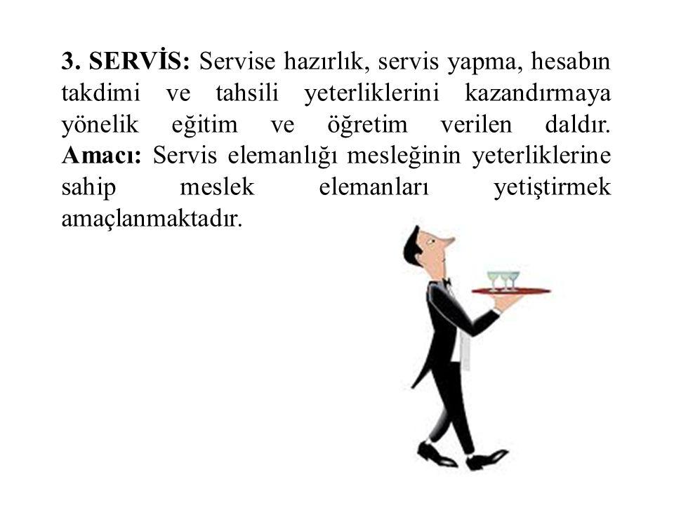 3. SERVİS: Servise hazırlık, servis yapma, hesabın takdimi ve tahsili yeterliklerini kazandırmaya yönelik eğitim ve öğretim verilen daldır. Amacı: Ser