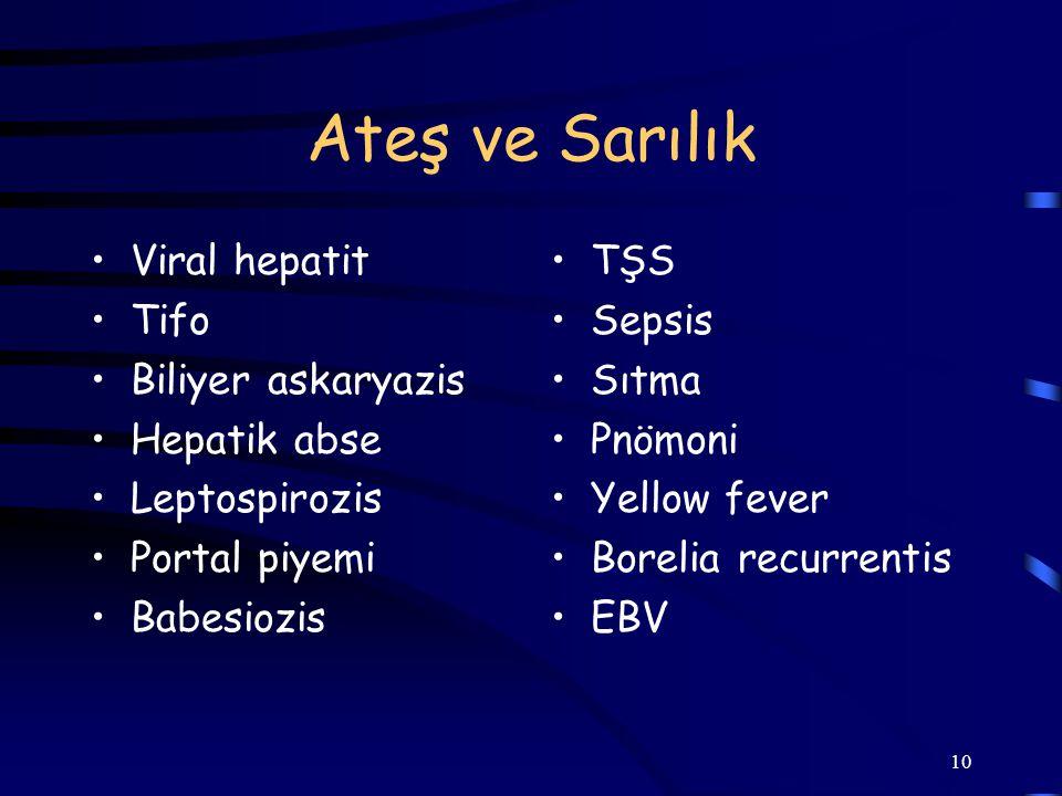 10 Ateş ve Sarılık Viral hepatit Tifo Biliyer askaryazis Hepatik abse Leptospirozis Portal piyemi Babesiozis TŞS Sepsis Sıtma Pnömoni Yellow fever Bor
