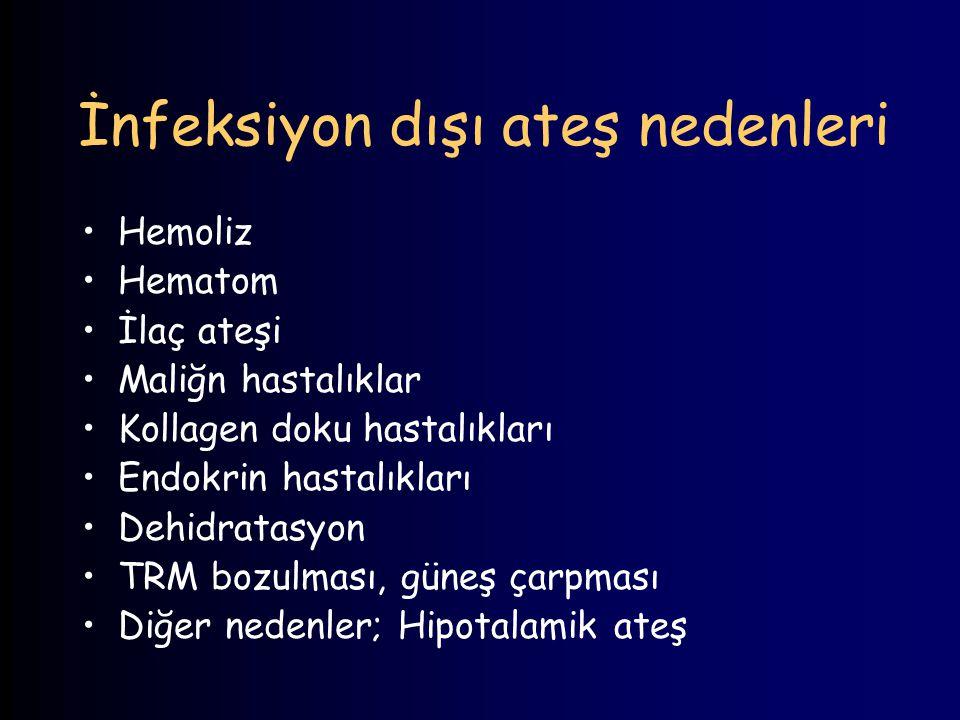 İnfeksiyon dışı ateş nedenleri Hemoliz Hematom İlaç ateşi Maliğn hastalıklar Kollagen doku hastalıkları Endokrin hastalıkları Dehidratasyon TRM bozulm