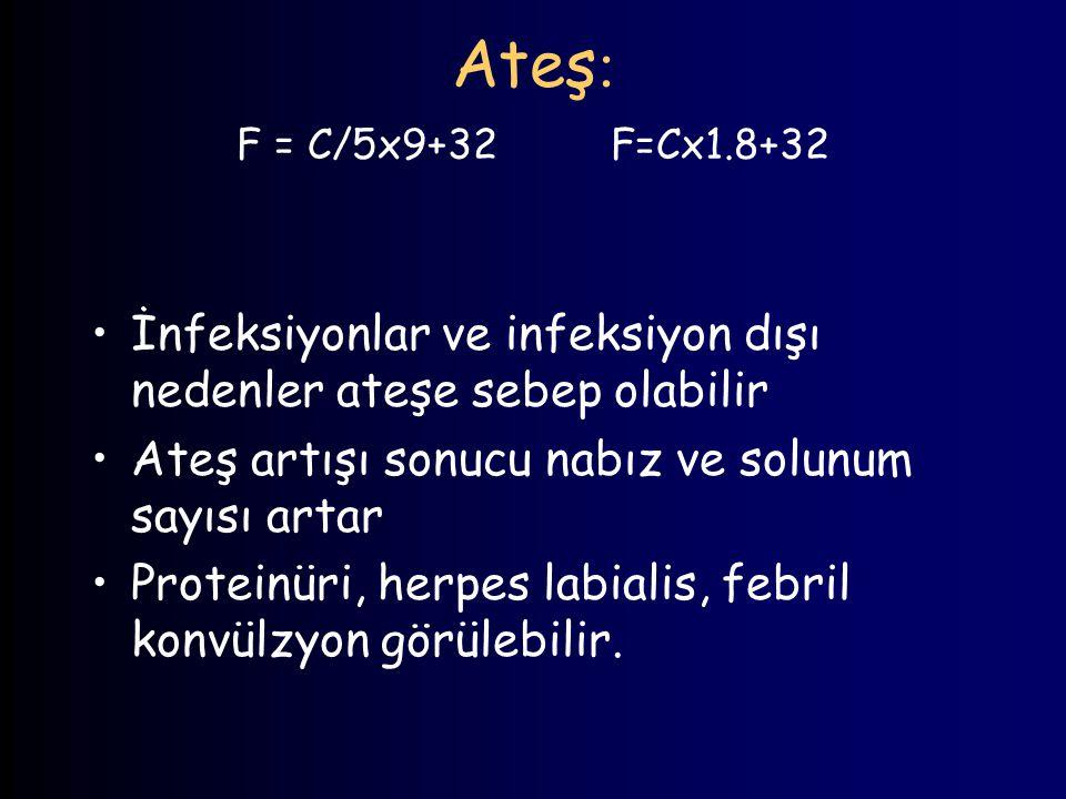 Ateş : F = C/5x9+32 F=Cx1.8+32 İnfeksiyonlar ve infeksiyon dışı nedenler ateşe sebep olabilir Ateş artışı sonucu nabız ve solunum sayısı artar Protein