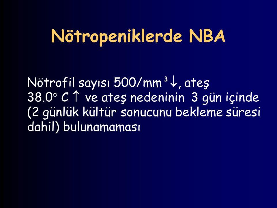 Nötropeniklerde NBA Nötrofil sayısı 500/mm³ , ateş 38.0  C  ve ateş nedeninin 3 gün içinde (2 günlük kültür sonucunu bekleme süresi dahil) bulunama