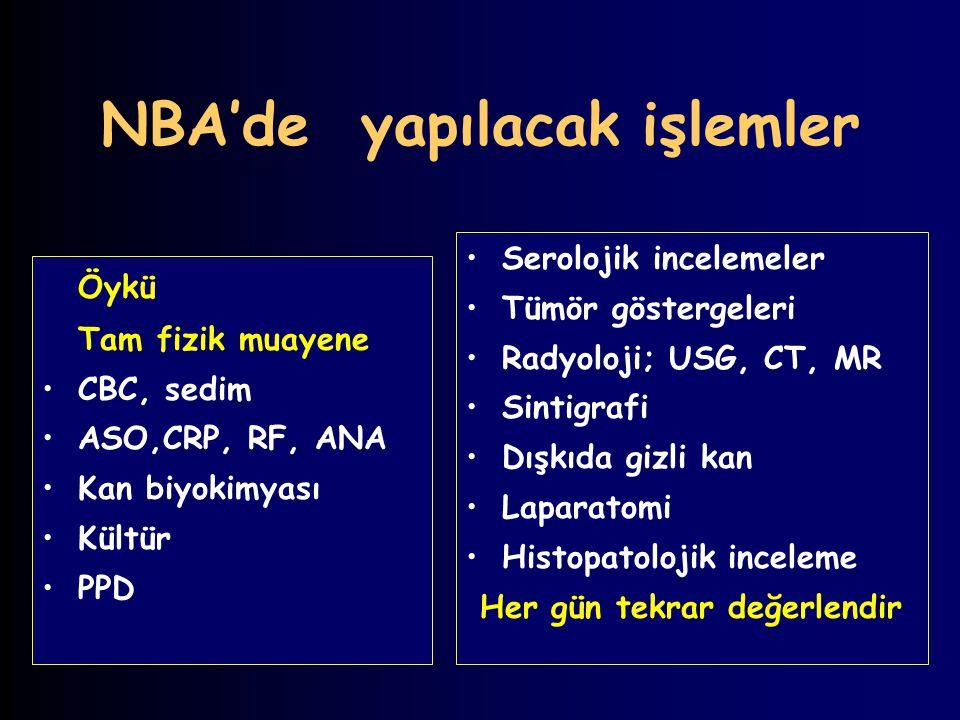 NBA'de yapılacak işlemler Öykü Tam fizik muayene CBC, sedim ASO,CRP, RF, ANA Kan biyokimyası Kültür PPD Serolojik incelemeler Tümör göstergeleri Radyo