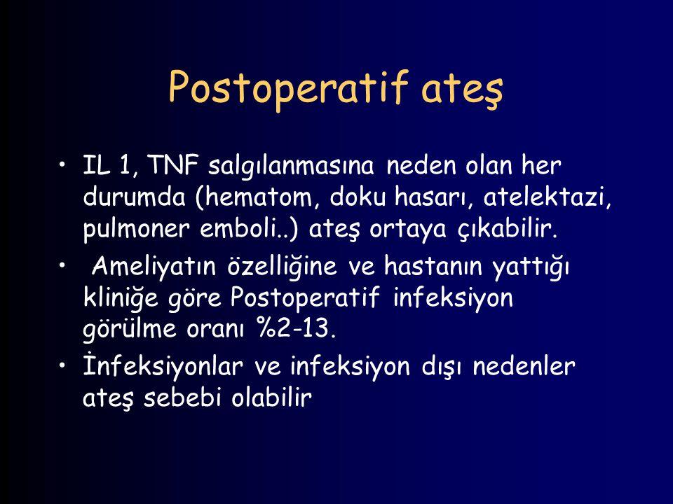 Postoperatif ateş IL 1, TNF salgılanmasına neden olan her durumda (hematom, doku hasarı, atelektazi, pulmoner emboli..) ateş ortaya çıkabilir. Ameliya