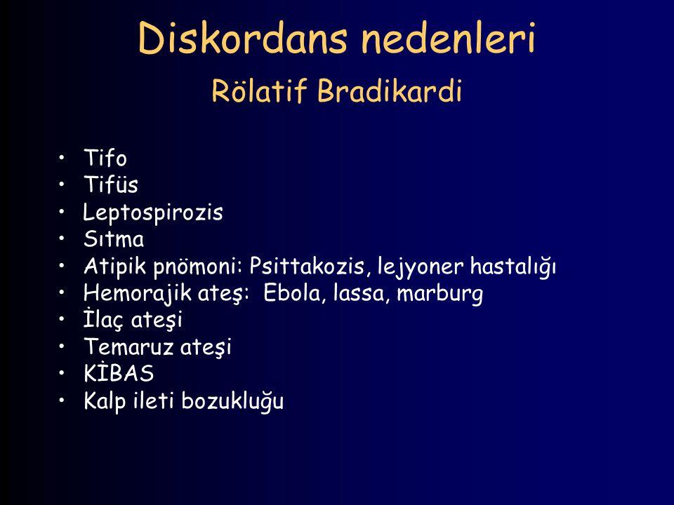 Diskordans nedenleri Rölatif Bradikardi Tifo Tifüs Leptospirozis Sıtma Atipik pnömoni: Psittakozis, lejyoner hastalığı Hemorajik ateş: Ebola, lassa, m