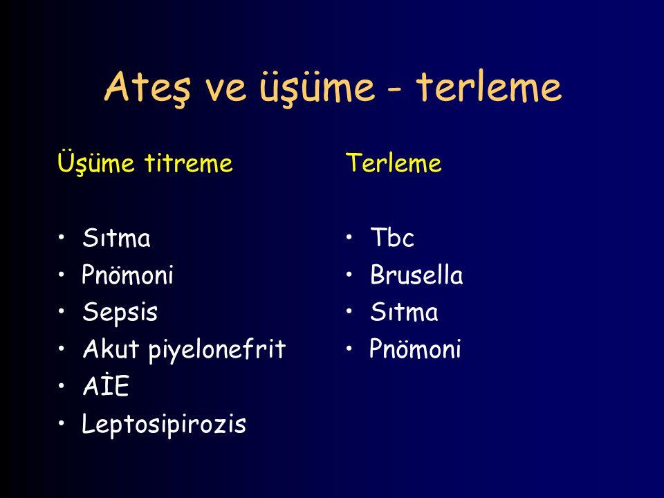 Ateş ve Döküntü Makülopapüler Enterovirus Tifo Toxoplazmoz Kızamık Kızamıkcık Sifiliz HIV HBV, CMV, EBV Eritrodermi Stafilokokkal TŞS Streptokokkal TŞS Veziküler VZV, HSV Coksackie A Peteşi Neisseria, İE, Ricketsia Hemorajik Bül Gazlı gangren Şarbon Aeromonas hydrophilia Vibrio vulnifucus Capnocytophaga canimorsus İnvaziv GAS Lösemi Taş roze Tifo Sigella Leptospira Pseudomonas aeroginosa