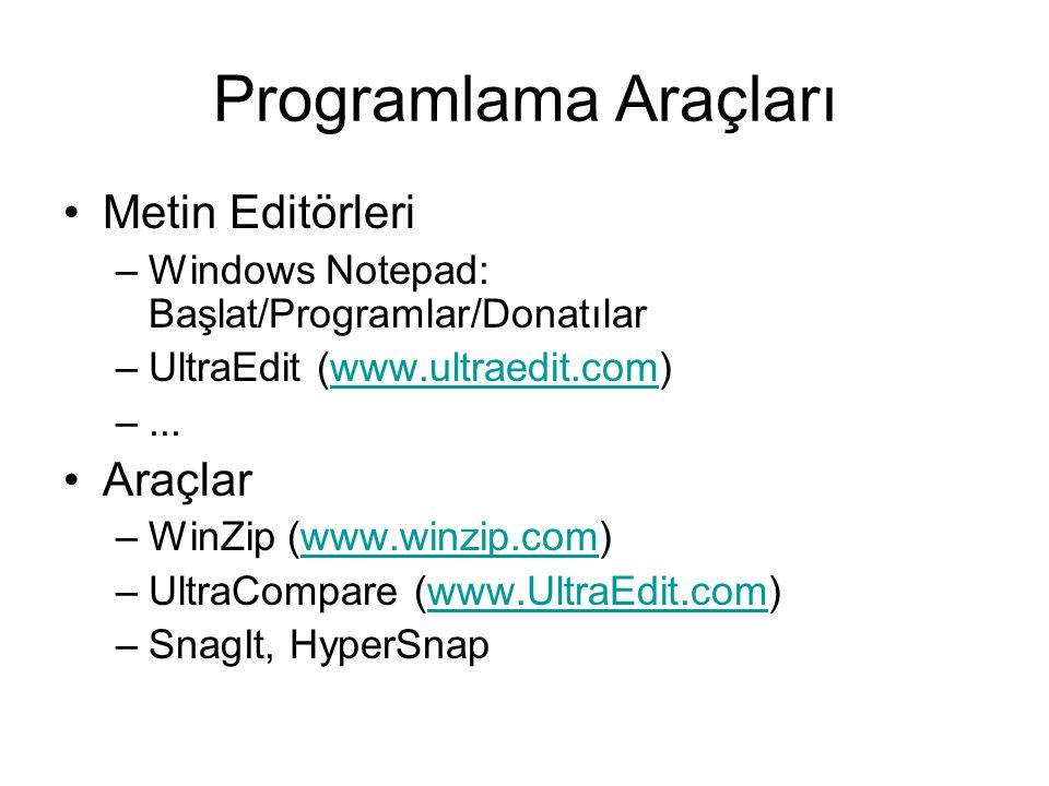 Programlama Araçları Metin Editörleri –Windows Notepad: Başlat/Programlar/Donatılar –UltraEdit (www.ultraedit.com)www.ultraedit.com –... Araçlar –WinZ