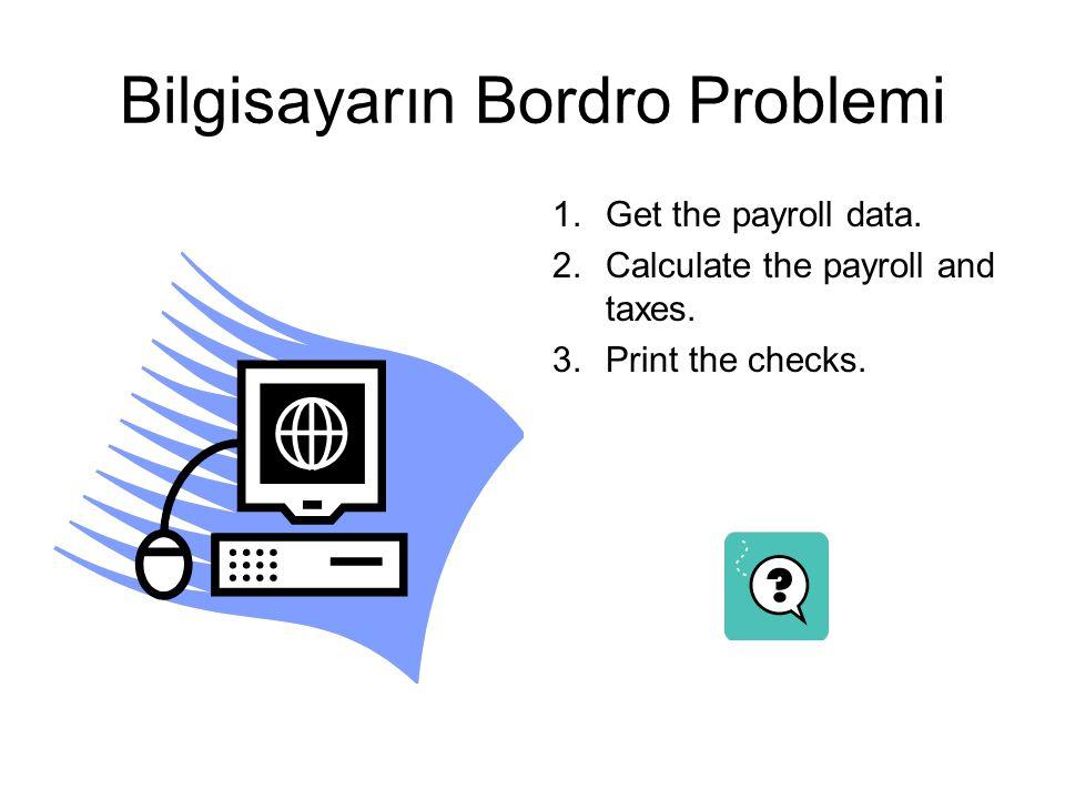 Bilgisayarın Bordro Problemi 1.Get the payroll data. 2.Calculate the payroll and taxes. 3.Print the checks.