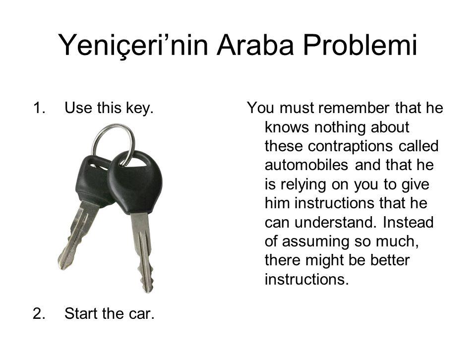 Yeniçeri'nin Algoritması 1.Attached is the key to the car.