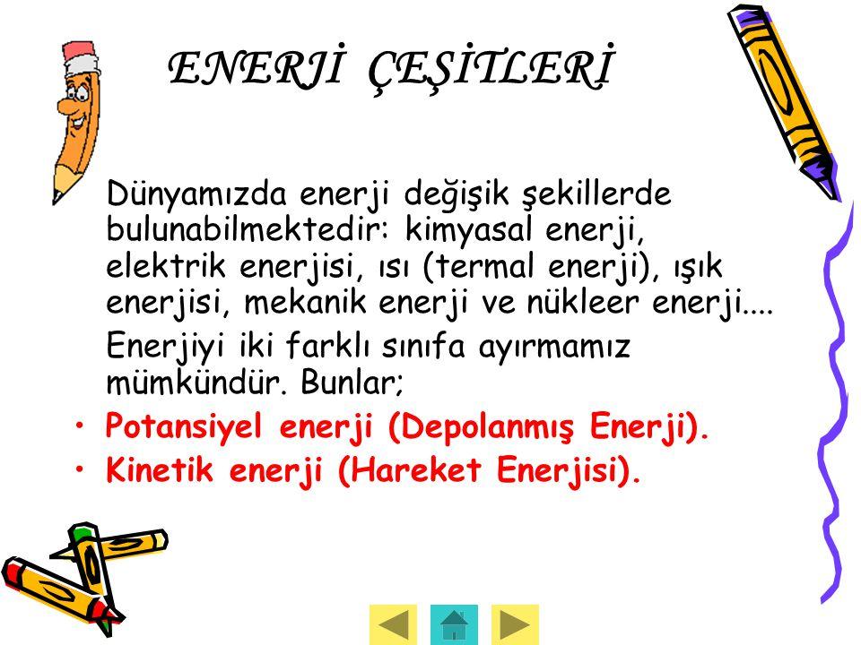 ENERJİ ÇEŞİTLERİ Dünyamızda enerji değişik şekillerde bulunabilmektedir: kimyasal enerji, elektrik enerjisi, ısı (termal enerji), ışık enerjisi, mekan