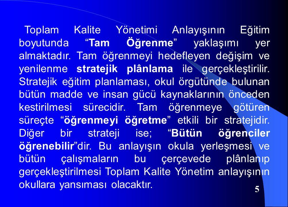 Toplam Kalite Yönetimi Anlayışının Eğitim boyutunda Tam Öğrenme yaklaşımı yer almaktadır.