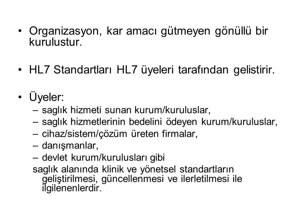 Organizasyon, kar amacı gütmeyen gönüllü bir kurulustur. HL7 Standartları HL7 üyeleri tarafından gelistirir. Üyeler: –saglık hizmeti sunan kurum/kurul