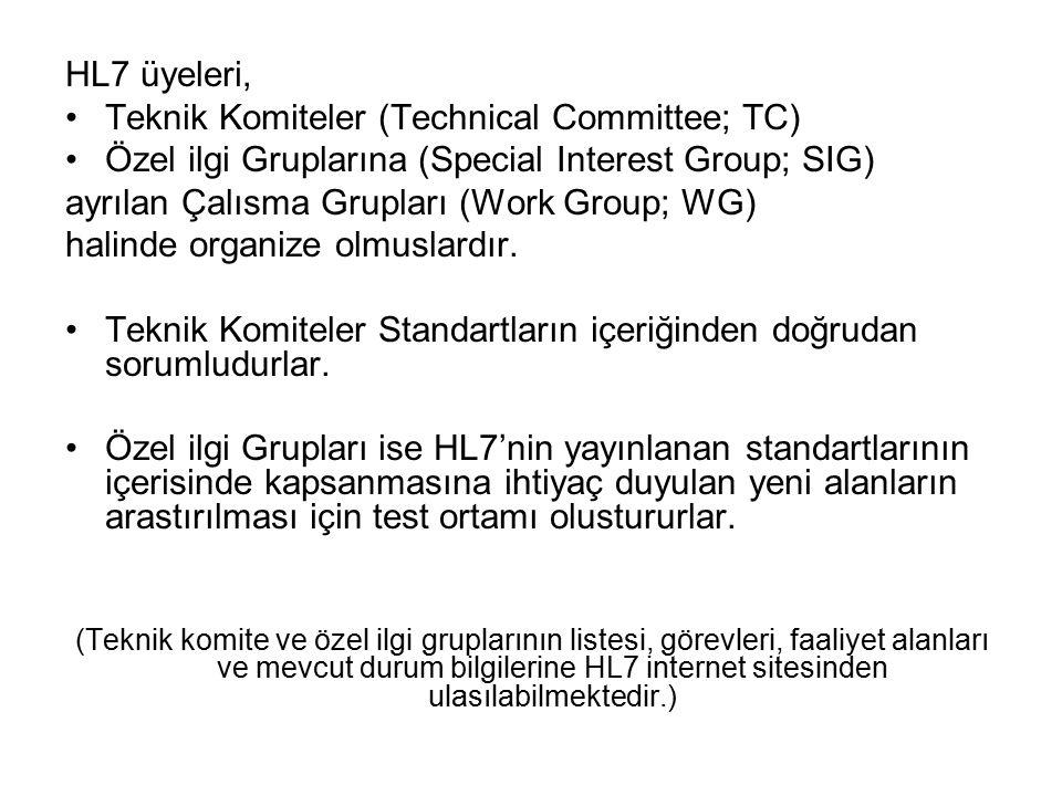 HL7 üyeleri, Teknik Komiteler (Technical Committee; TC) Özel ilgi Gruplarına (Special Interest Group; SIG) ayrılan Çalısma Grupları (Work Group; WG) h