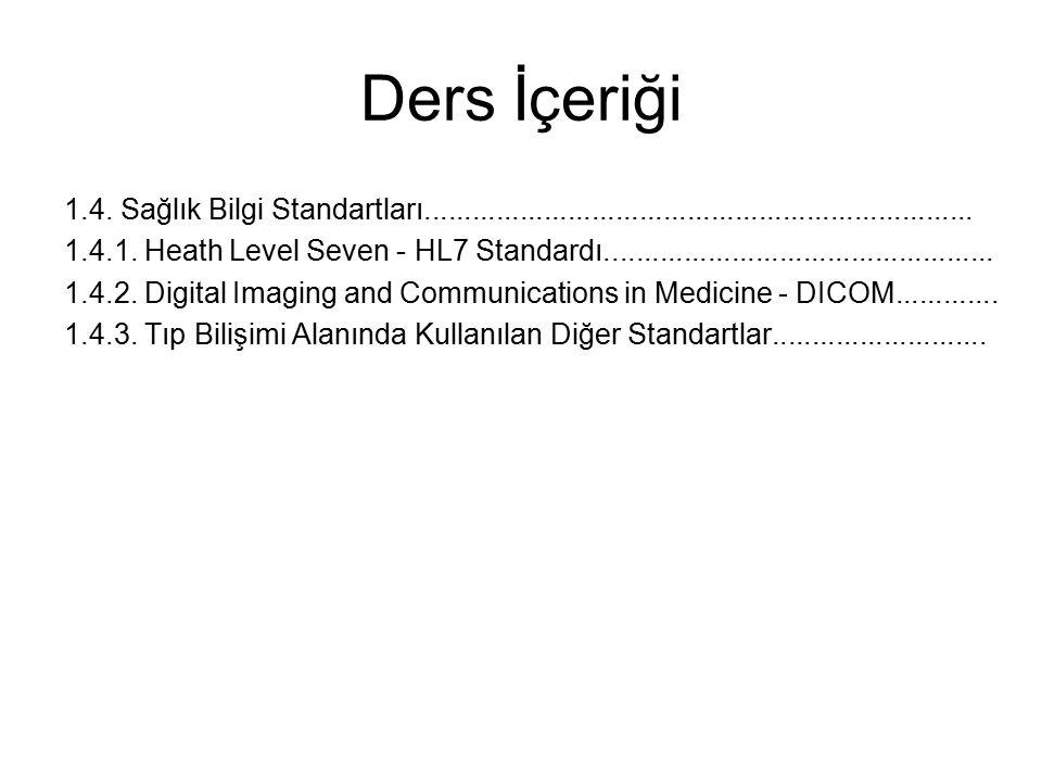 Ders İçeriği 1.4. Sağlık Bilgi Standartları..................................................................... 1.4.1. Heath Level Seven - HL7 Standa
