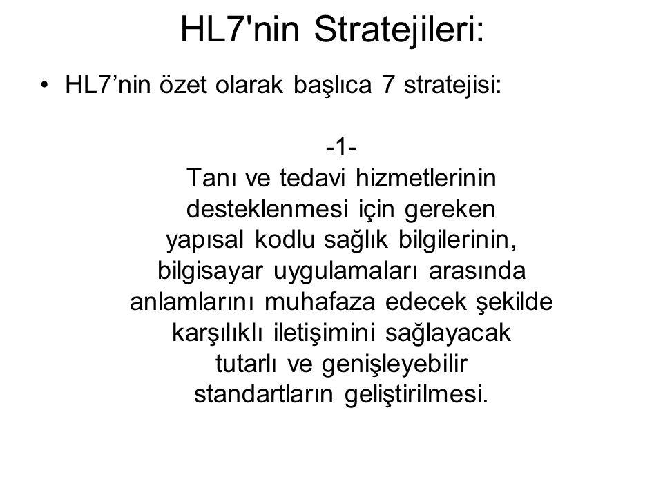 HL7 nin Stratejileri: HL7'nin özet olarak başlıca 7 stratejisi: -1- Tanı ve tedavi hizmetlerinin desteklenmesi için gereken yapısal kodlu sağlık bilgilerinin, bilgisayar uygulamaları arasında anlamlarını muhafaza edecek şekilde karşılıklı iletişimini sağlayacak tutarlı ve genişleyebilir standartların geliştirilmesi.