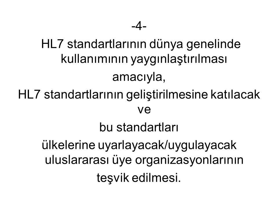 -4- HL7 standartlarının dünya genelinde kullanımının yaygınlaştırılması amacıyla, HL7 standartlarının geliştirilmesine katılacak ve bu standartları ülkelerine uyarlayacak/uygulayacak uluslararası üye organizasyonlarının teşvik edilmesi.