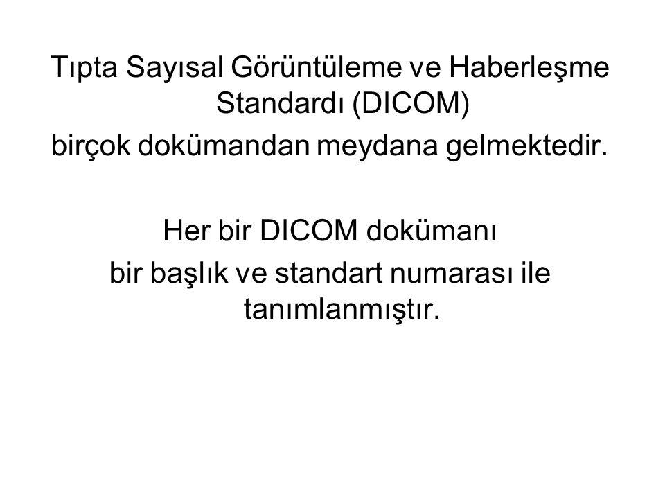 Tıpta Sayısal Görüntüleme ve Haberleşme Standardı (DICOM) birçok dokümandan meydana gelmektedir. Her bir DICOM dokümanı bir başlık ve standart numaras
