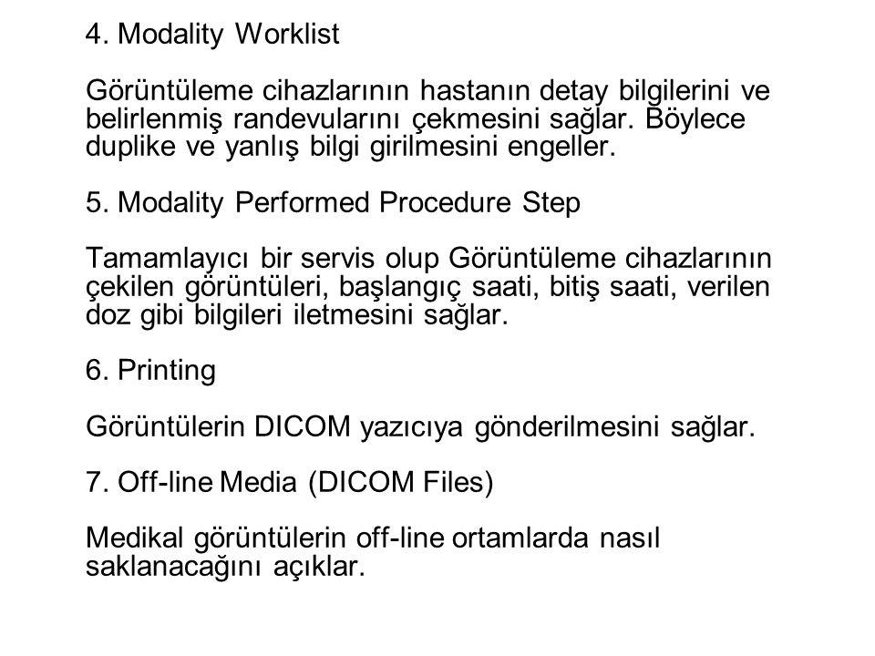 4. Modality Worklist Görüntüleme cihazlarının hastanın detay bilgilerini ve belirlenmiş randevularını çekmesini sağlar. Böylece duplike ve yanlış bilg