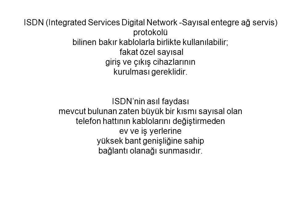 ISDN (Integrated Services Digital Network -Sayısal entegre ağ servis) protokolü bilinen bakır kablolarla birlikte kullanılabilir; fakat özel sayısal giriş ve çıkış cihazlarının kurulması gereklidir.