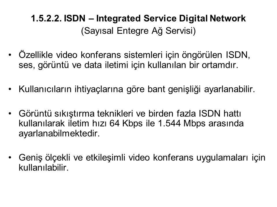 1.5.2.2. ISDN – Integrated Service Digital Network (Sayısal Entegre Ağ Servisi) Özellikle video konferans sistemleri için öngörülen ISDN, ses, görüntü