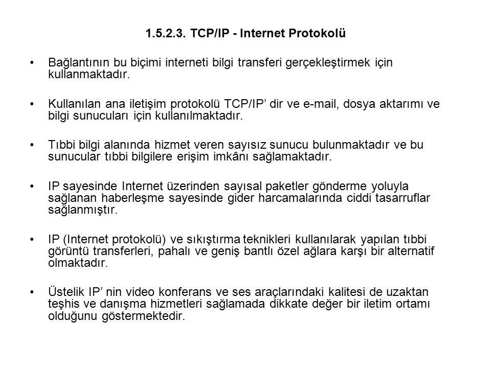 1.5.2.3. TCP/IP - Internet Protokolü Bağlantının bu biçimi interneti bilgi transferi gerçekleştirmek için kullanmaktadır. Kullanılan ana iletişim prot