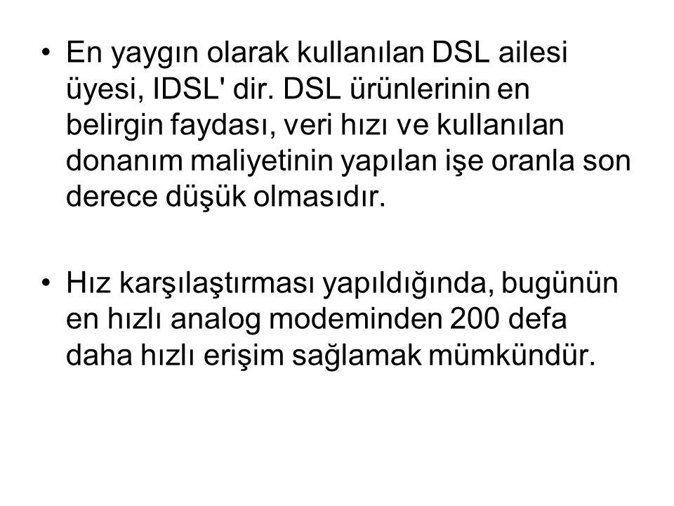 En yaygın olarak kullanılan DSL ailesi üyesi, IDSL' dir. DSL ürünlerinin en belirgin faydası, veri hızı ve kullanılan donanım maliyetinin yapılan işe