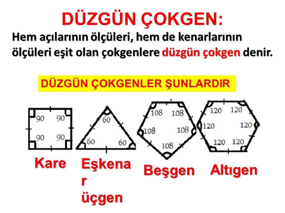 DÜZGÜN ÇOKGEN: Hem açılarının ölçüleri, hem de kenarlarının ölçüleri eşit olan çokgenlere düzgün çokgen denir. Kare Eşkena r üçgen Beşgen Altıgen DÜZG