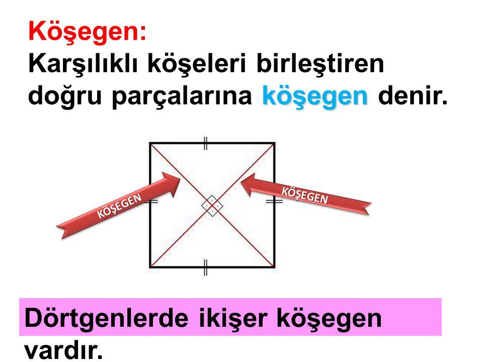 köşegen Köşegen: Karşılıklı köşeleri birleştiren doğru parçalarına köşegen denir. KÖŞEGENKÖŞEGEN KÖŞEGENKÖŞEGEN Dörtgenlerde ikişer köşegen vardır.